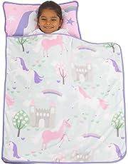 Everything Kids Pink & Aqua Unicorn Toddler Nap Mat with Pillow & Blanket, Pink, Aqua, Lavender, White