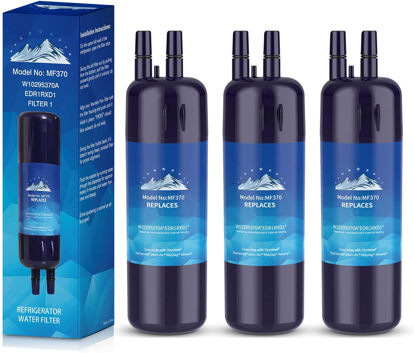 W10295370A Water Filter Cap Compatible with W10295370,P4RFWB,EDR1RXD1,P8RFWB2L,Pur Filter 1 Kenmore 46-9930 Kenmore 46-9081,3 Pack