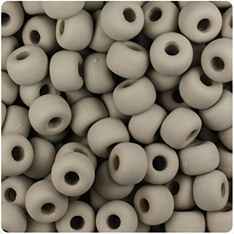 250 Khaki Brown Matte 11mm Large Barrel Plastic Pony Beads Made in the USA