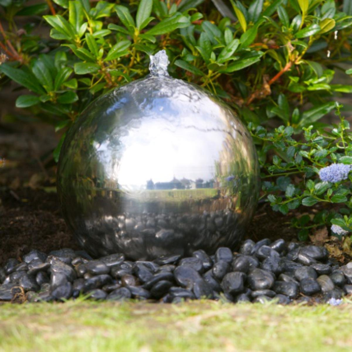 30cm Solar Powered Sphere Stainless Steel Garden Water Feature:  Amazon.co.uk: Garden U0026 Outdoors