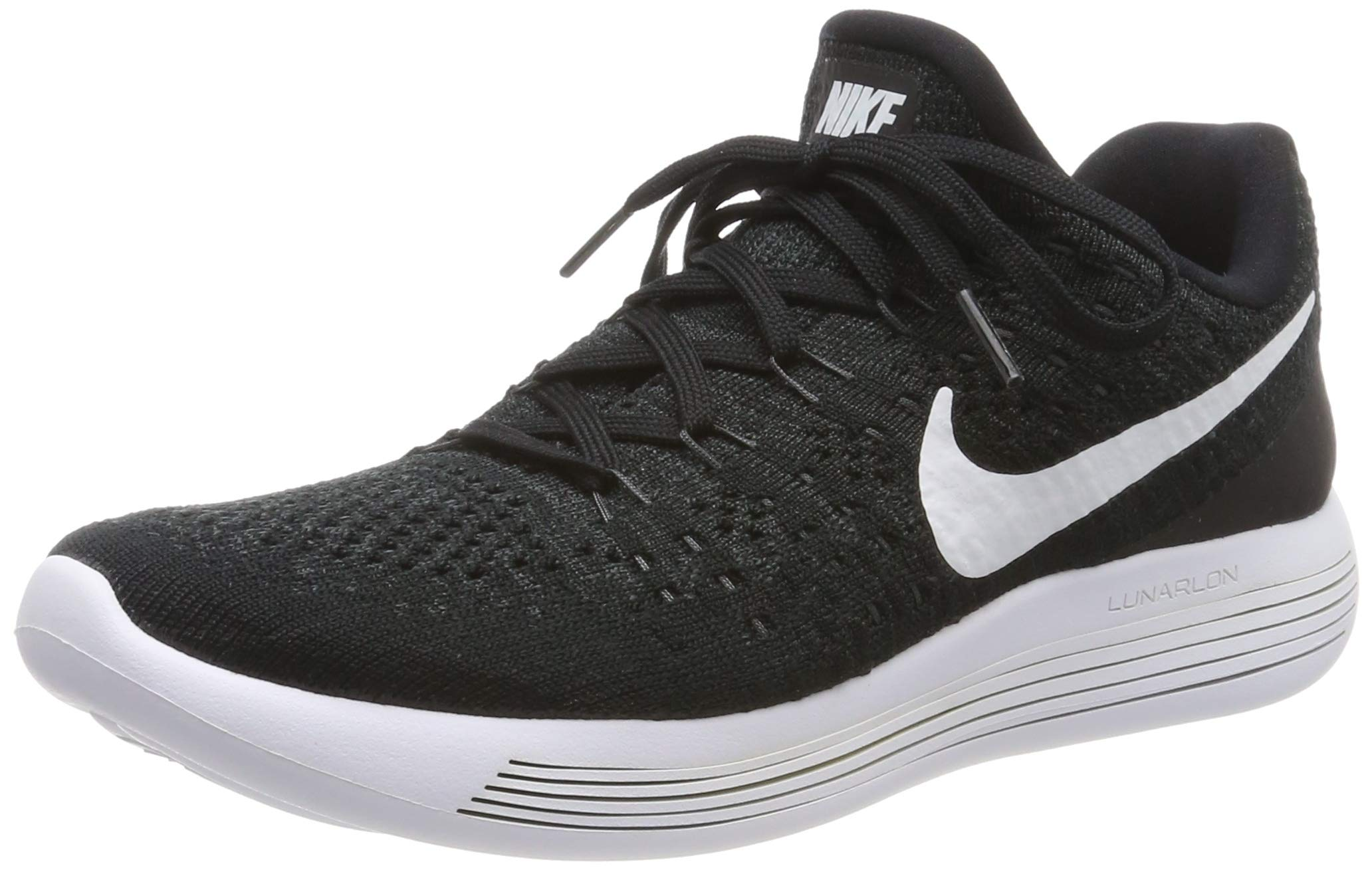 Nike Womens Lunarepic Low Flyknit 2 Fabric Low, Black/White/Anthracite, Size 5.0