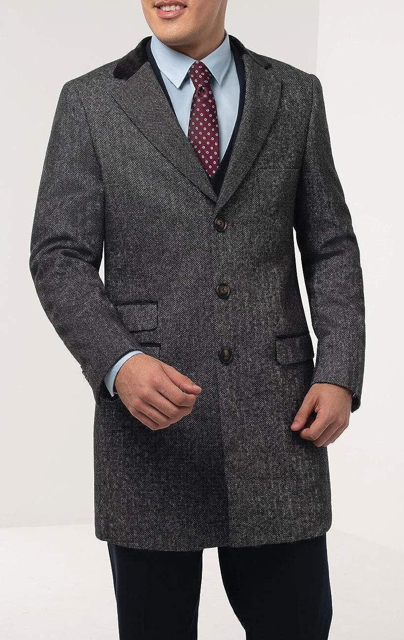 Dobell Herren Grauer Fischgr/äten Tweed Mantel mit Samt Details