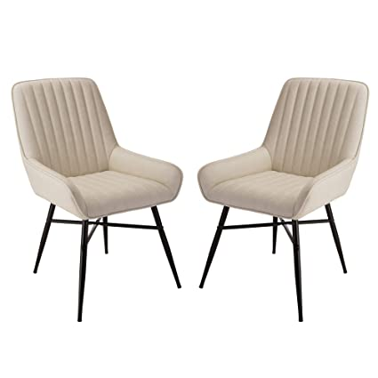 Glitzhome Mid Century Dining Chair With Back Support Modern Cream Leatherette Kitchen Room Chair With Arms Set Of 2