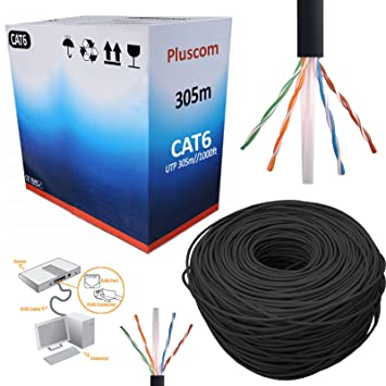 Safekom 305 M cat6e rollo carrete negro Bulk Cable de red RJ45 UTP Ethernet para router