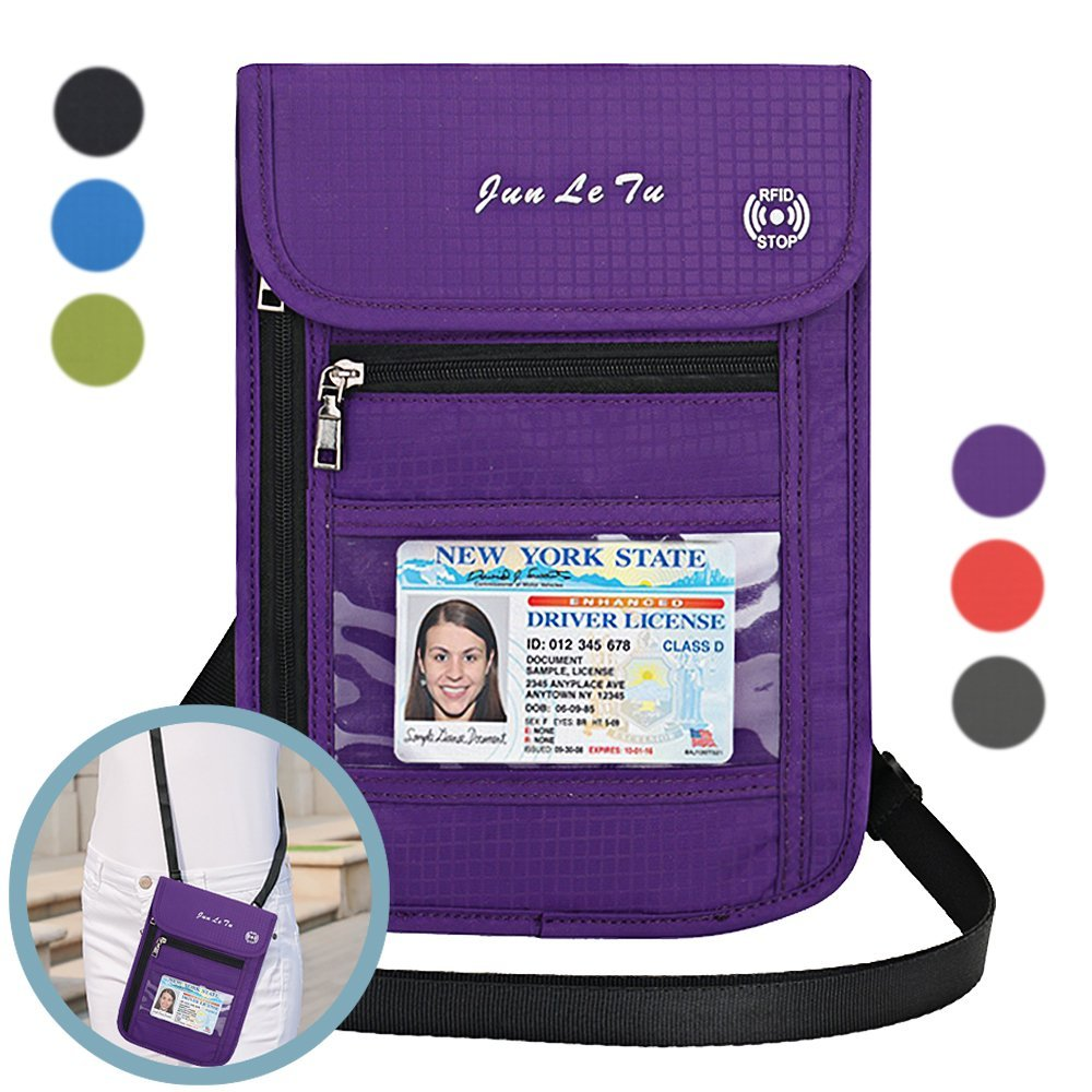 Auker Travel Passport Holder RFID Blocking Neck Wallet Pouch ID Credit Card Document Organizer Crossbody Bag (Purple)
