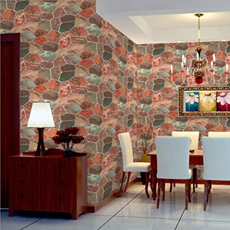 DELISI 3D Faux Rock Printed Wallpaper Retro Textured Stone Wall