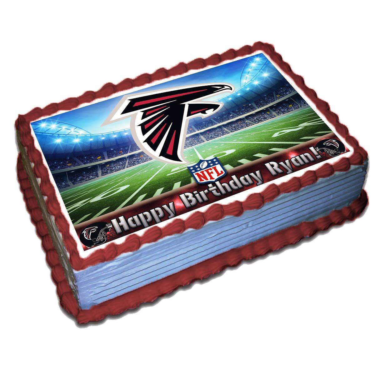 Fantastic Atlanta Falcons Nfl Personalized Cake Topper Icing Sugar Paper 1 4 Personalised Birthday Cards Sponlily Jamesorg