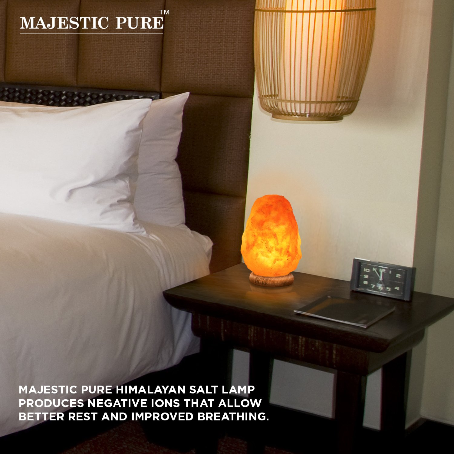 Majestic Pure Himalayan Salt Lamp - Natural Pink Salt Rock Lamp, Hand Carved, Wooden Base, Brightness Dimmer, 3 Bulbs, UL-Listed Cord and Gift Box, 8-11 lbs by Majestic Pure (Image #3)