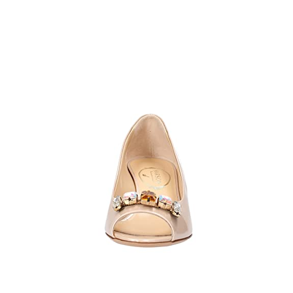 HARSON 35 EU Zapatos de Salón Mujer Azul Beige Charol AF510 (37 EU, Beige)