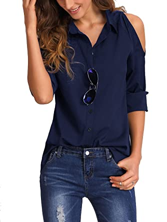 f295b00a82a73 ROMWE Chemisier Sexy Epaules dénudés Manches Longues Tops Femme - Marin -  Taille Small