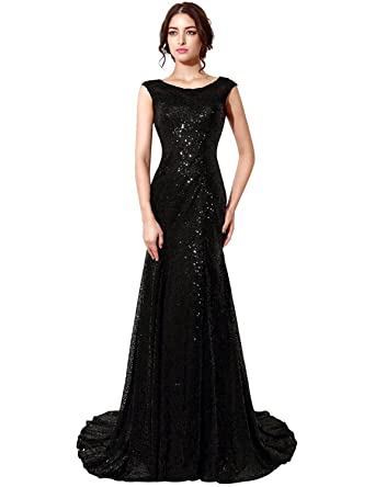Sarahbridal Long Evening Dresses for Women UK Glitter Sequins Gown Plus Size Bridesmaid Dresses SSD197 Black