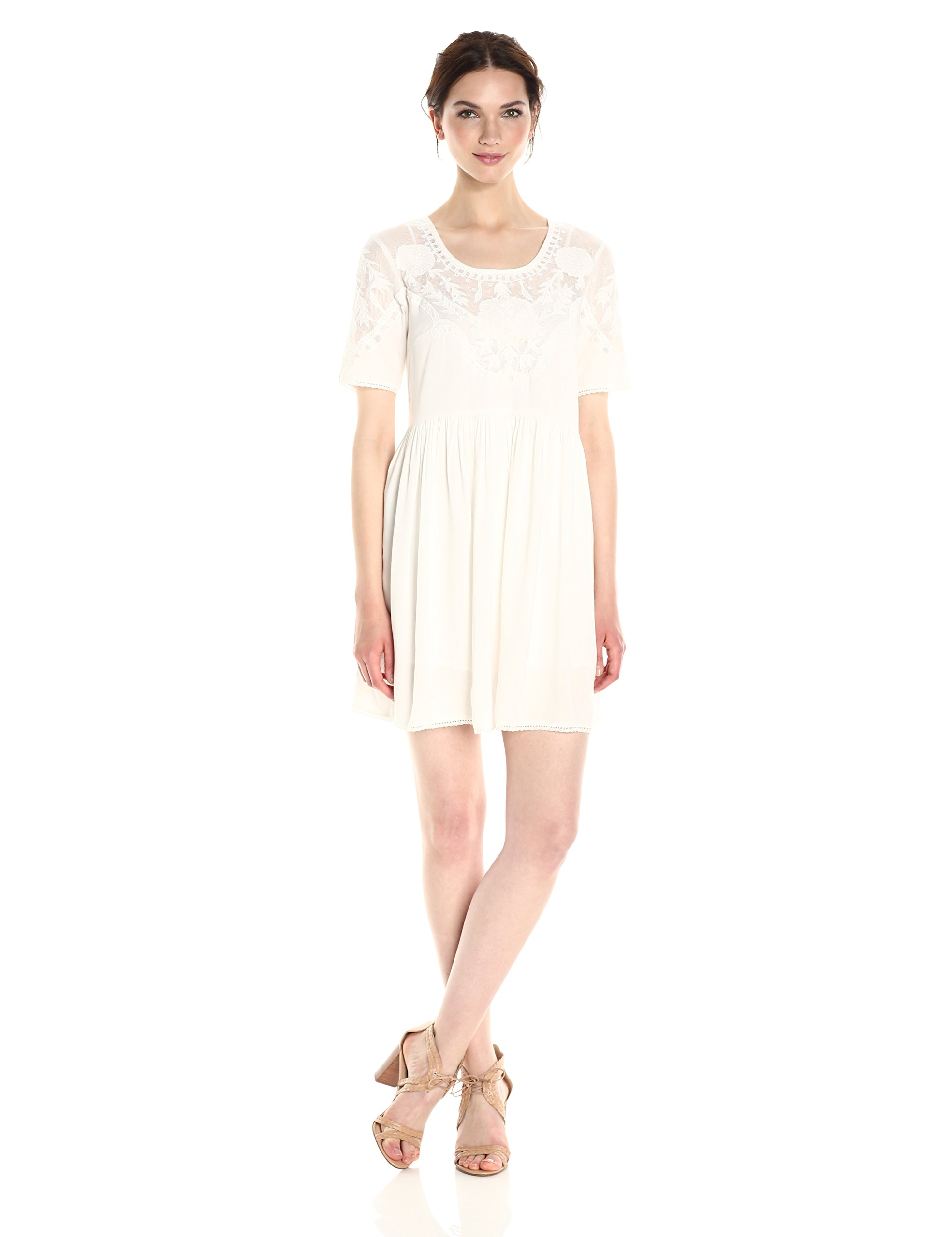 French Connection Women's Shannon Stitch Dress, Summer White, L