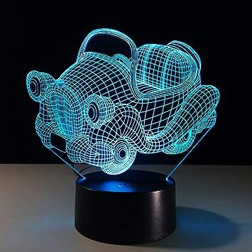 QINCH Luz Nocturna 3D Iluminación Visual 7 Cambio de Color USB Teclado táctil y lámpara de