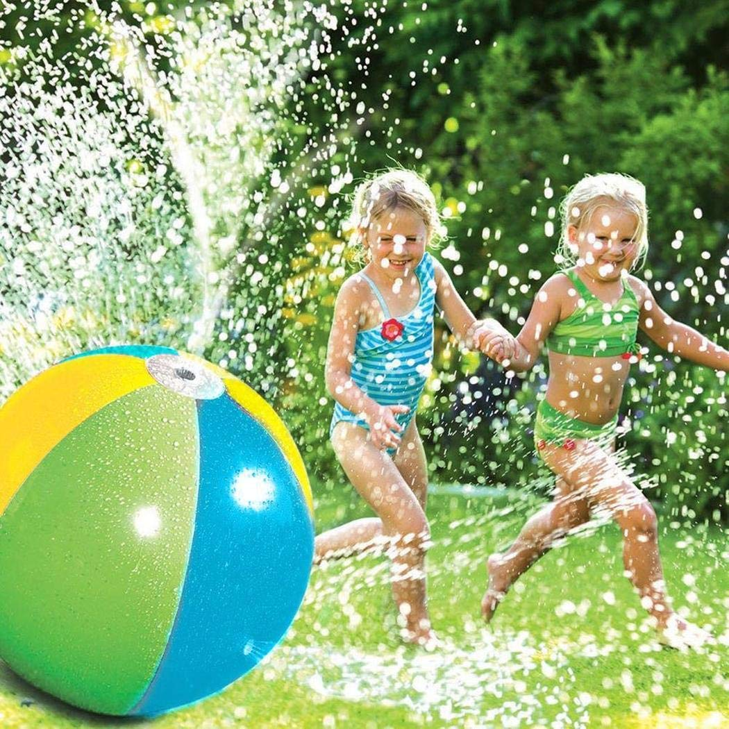 Natugochi Outdoor Colorful Water Spray Ball,Kids Inflatable Water Sprinkler Toy Splash and Spray Ball with 4 Water Spouts Summer Fun Toys for Garden Pool Beach Playing Water-Diameter 29.52 in Ball by Natugochi