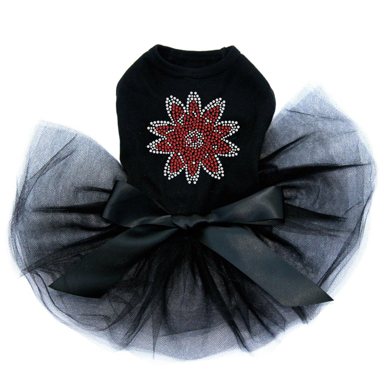 Red Rhinestone Flower - Bling Rhinestone Dog Tutu Dress, S Black by Dog in the Closet