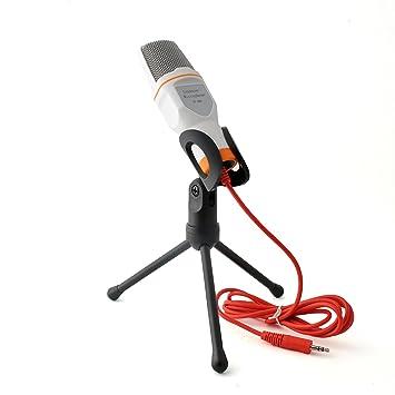 micrófono de condensador para ordenador, ordenador portátil, notebook, cancelación de ruido micrófono de mano de escritorio para Skype Chat cantando ...