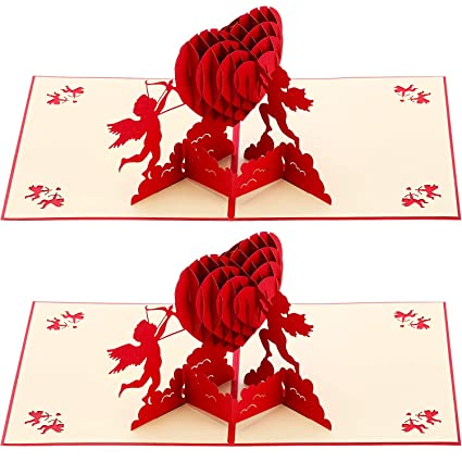 Jetec 2 Pieces 3d Love Pop Up Card Handmade Greeting Card With Envelope For Valentine Christmas New Year Birthday Wedding