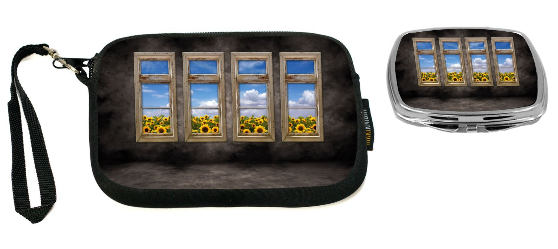 Rikki Knight Beautiful Sunflower View Distressed Interior Windows Design Neoprene Clutch Wristlet with Matching Square Compact Mirror