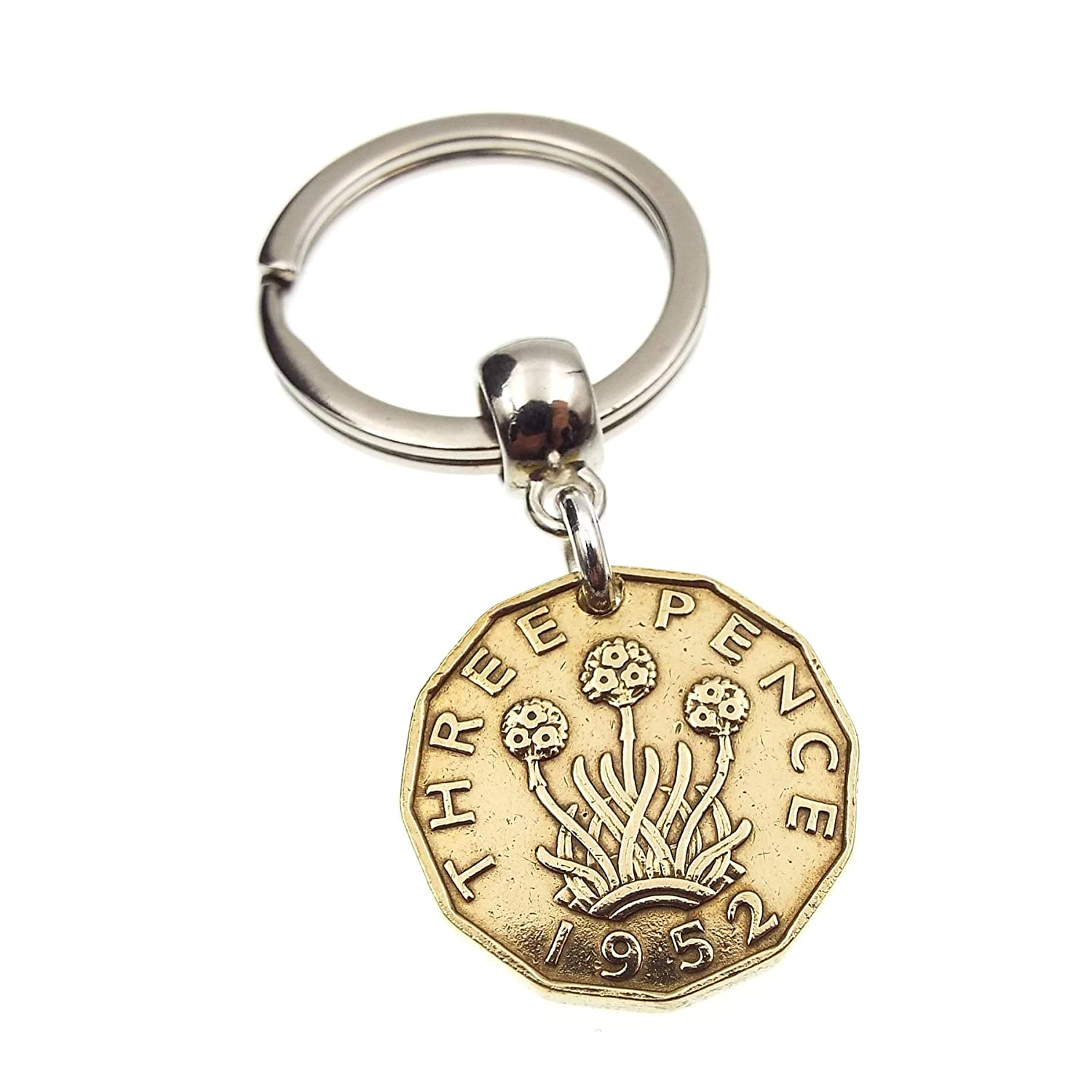 A Silver Dream 1952 Brass Threepence Coin Keyring
