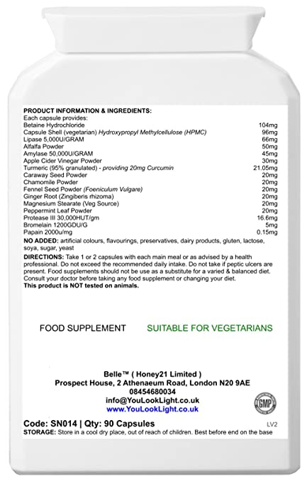 Belle® High Potency Digestive Aid - Con enzimas digestivas de ...