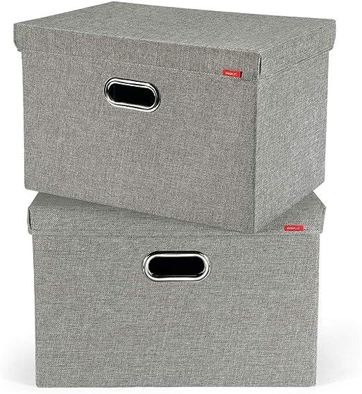 Juchen Caja de almacenaje de Yute (2 Unidades, con Tapa, 45 x 30 x ...