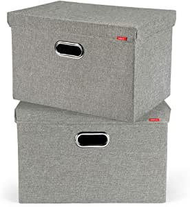 Juchen Caja de almacenaje de Yute (2 Unidades, con Tapa, 45 x 30 x 30 cm), Color Gris: Amazon.es: Hogar