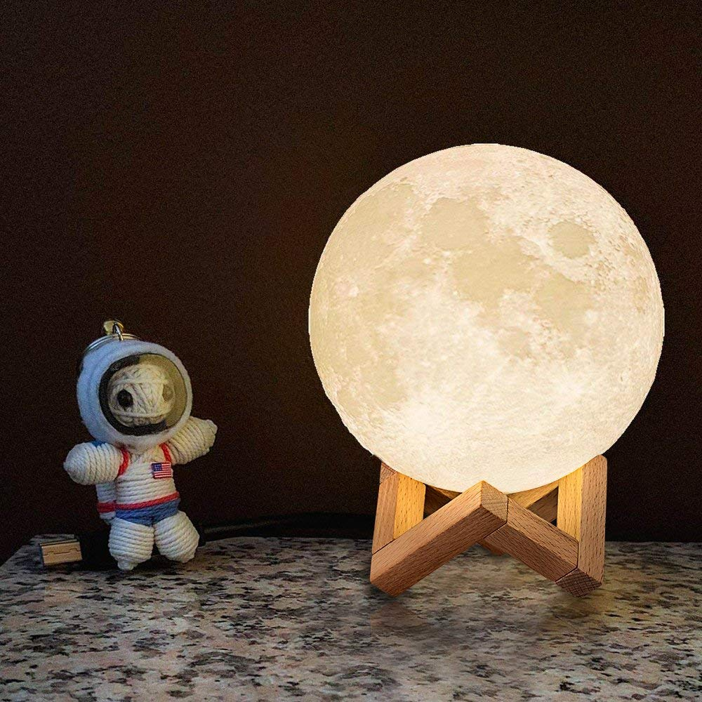 Vinmax Light LED 3D Printing Moon Lamp, Night Warm and Cool White Dimmable Touch Control Brightness with USB Charging, Home Decorative Light with Wooden Base