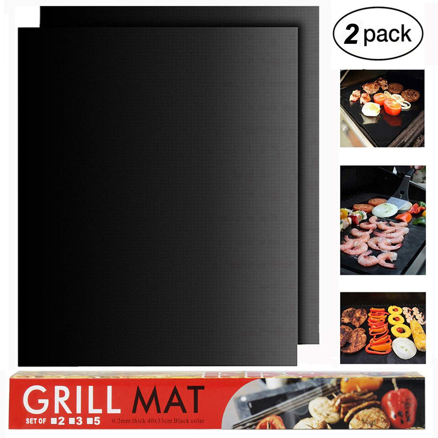 RENOOK BBQ Grill Mat Set of 2-Heavy Duty, 100% Non-Stick Mats Reusable, and Easy to Clean Barbecue Grilling Accessories-15.75x13-Inch,Black