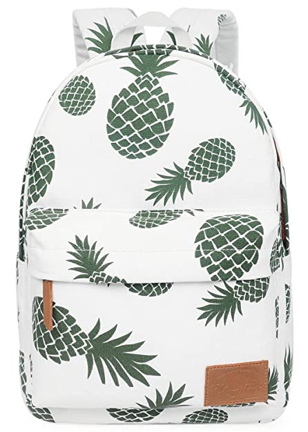 FITMYFAVO Backpack for Teen Girls with Multi-Pockets Cute Bookbag Daypack Travel Bag (Pineapple)