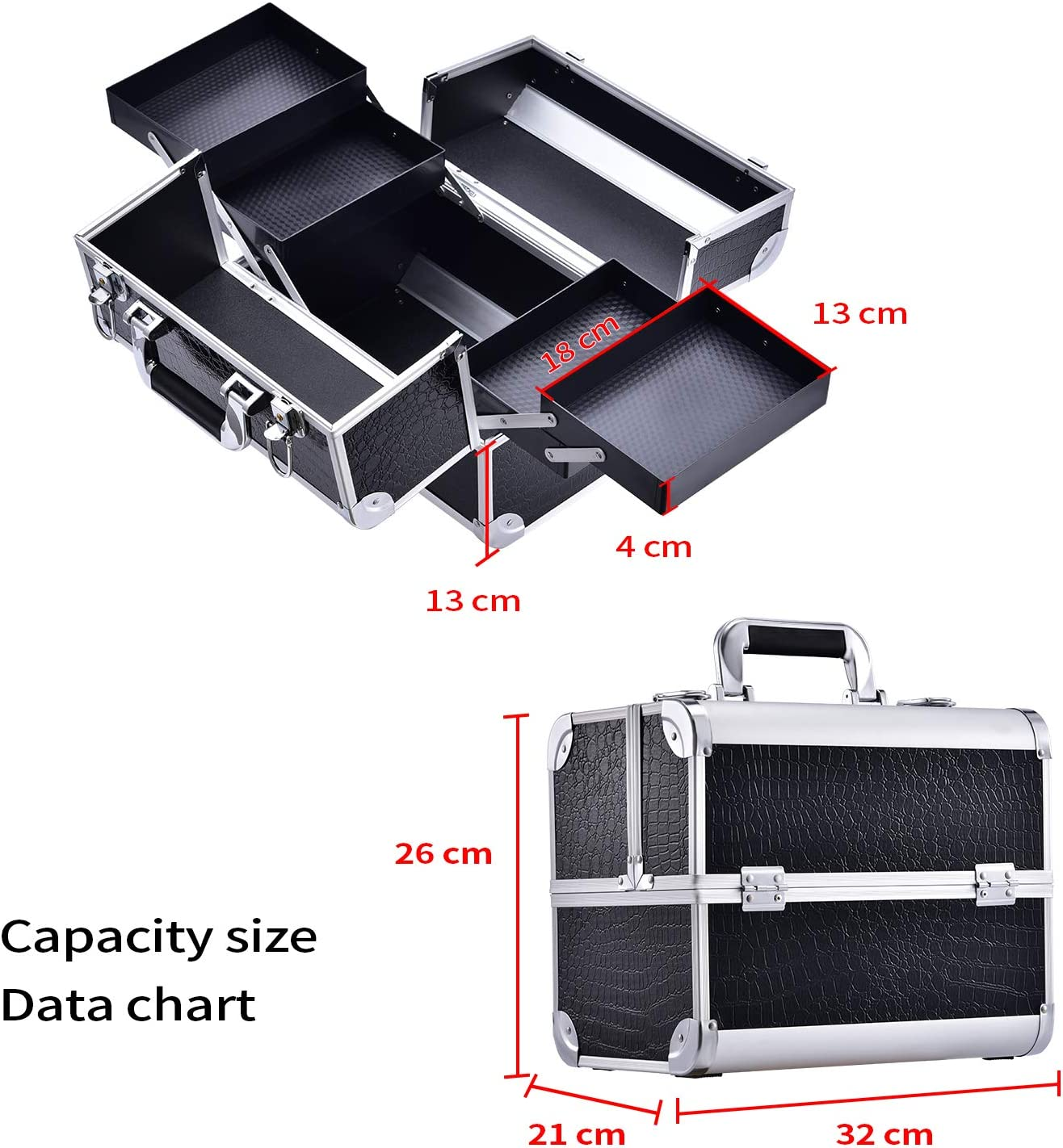 Black Corc Grande valise noire Bo/îte /à maquillage cosm/étique Cas de stockage de beaut/é avec serrure /à fermoir avec 4 plateaux et cl/és