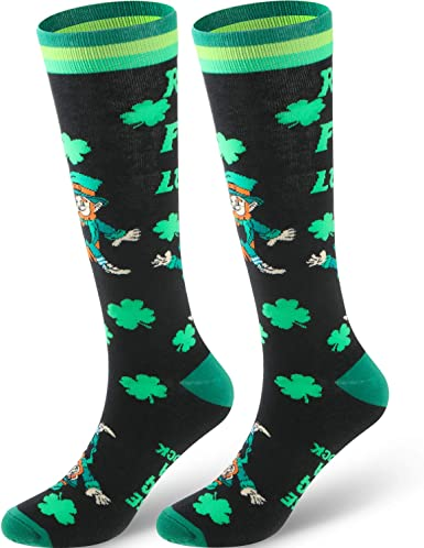 Unisex Socks  Black Footed Irish Shamrock Clover Ireland Party Allow 2 weeks to receive See Size Chart - last image St Patrick/'s Day 2