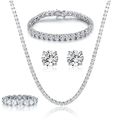 0dbd089752a25 GEMSME 18K White Gold Plated Tennis Necklace/Bracelet/Earrings/Band Ring  Sets Pack of 4