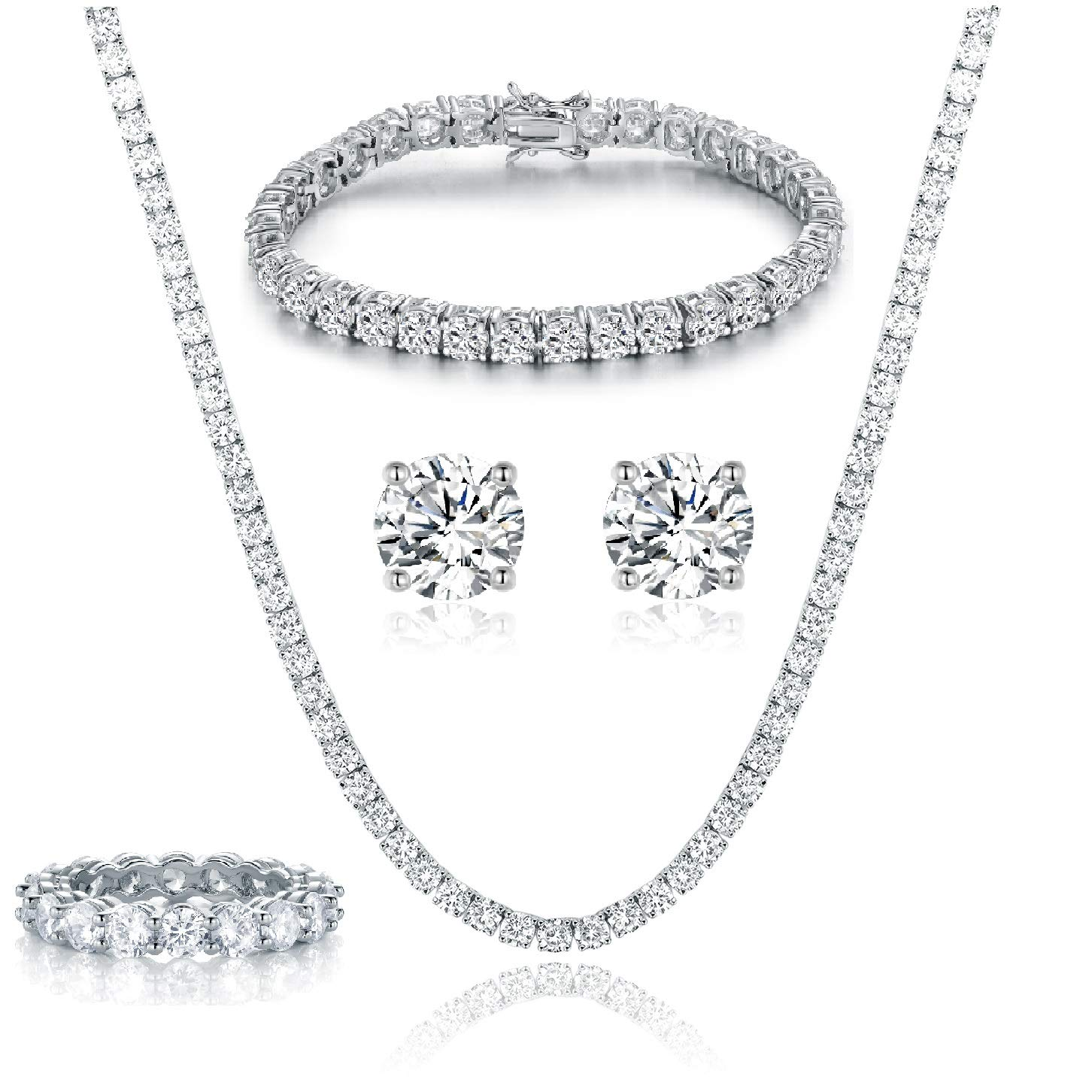 GEMSME 18K White Gold Plated Tennis Necklace/Bracelet/Earrings/Band Ring Sets Pack of 4 (8)