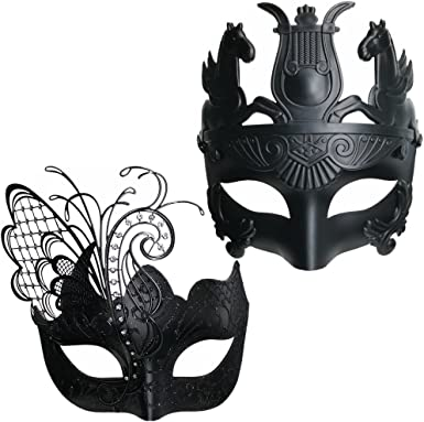 Men Women Couple White Metal Butterfly And Masquerade Ball Prom Party Mask