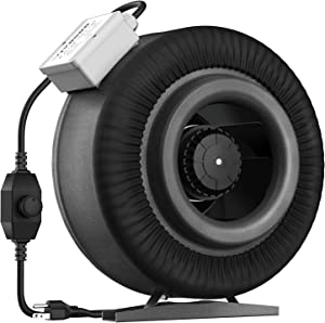 VIVOSUN 8 Inch 740 CFM Inline Duct Ventilation Fan with Variable Speed Controller for Grow Tent