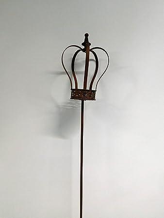 Rankstab Rosenstab Gartenstecker Krone auf Stab H 135 cm braun SW160359