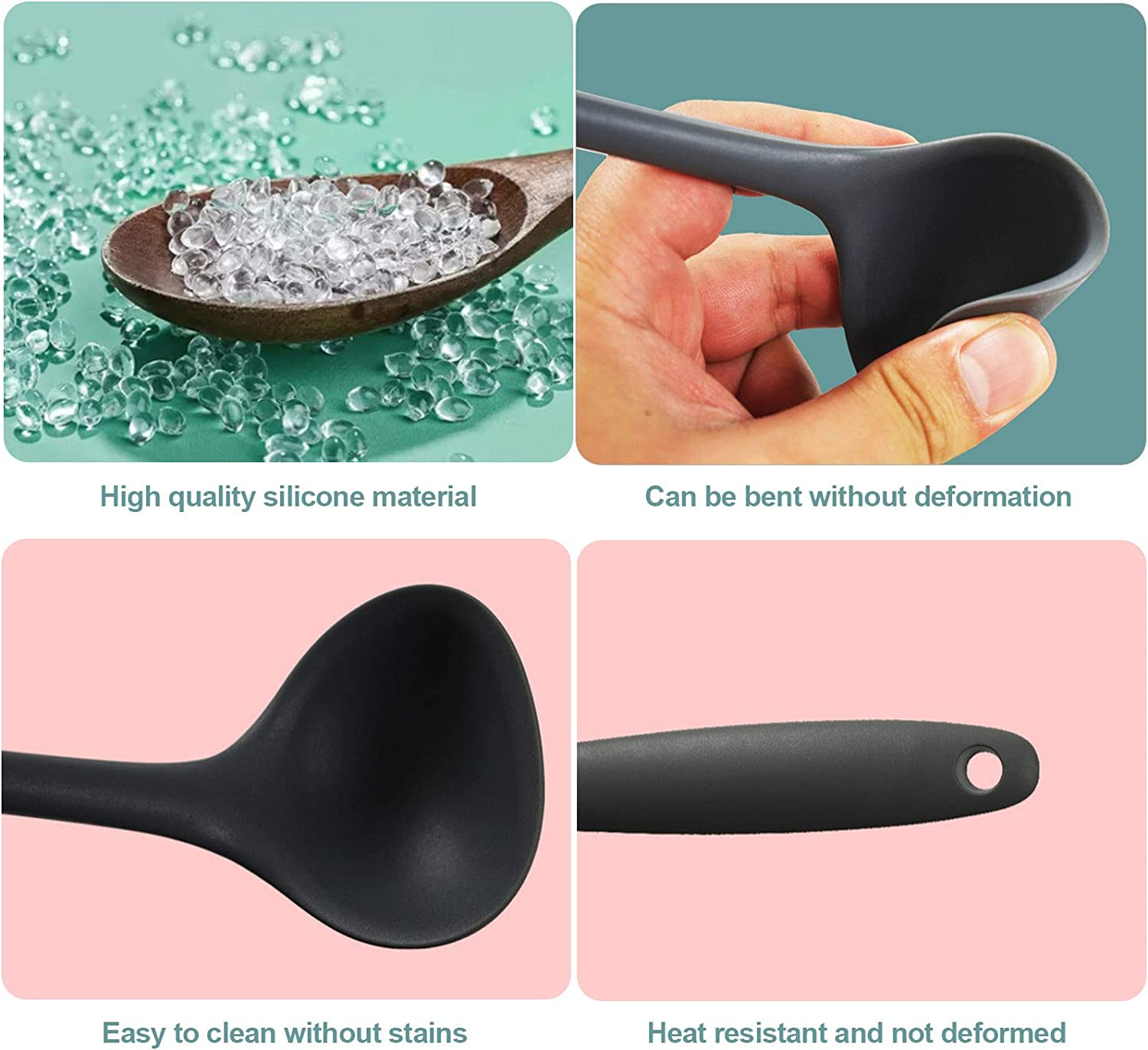 Kitchen Utensils. Mint Green High Temperature and Scalding Cooking Spoon with Comfortable Handle JOELELI Silicone Soup Ladle