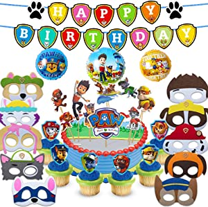 Paw Dog Patrol Party Supplies for Kids, 37 Pcs Party Favors - Cake Topper, Cupcake Toppers, Felt Mask, Foil Balloon, Happy Birthday Banner