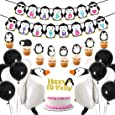 Penguin Party Supplies Happy Birthday Banner Walking Penguin Balloons Cake Toppers for Birthday Party, Baby Shower Decorations