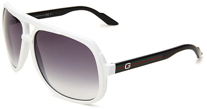1633b1352c7c4 Gucci 1622 OVE White and Black 1622 Aviator Sunglasses  Amazon.co.uk   Clothing