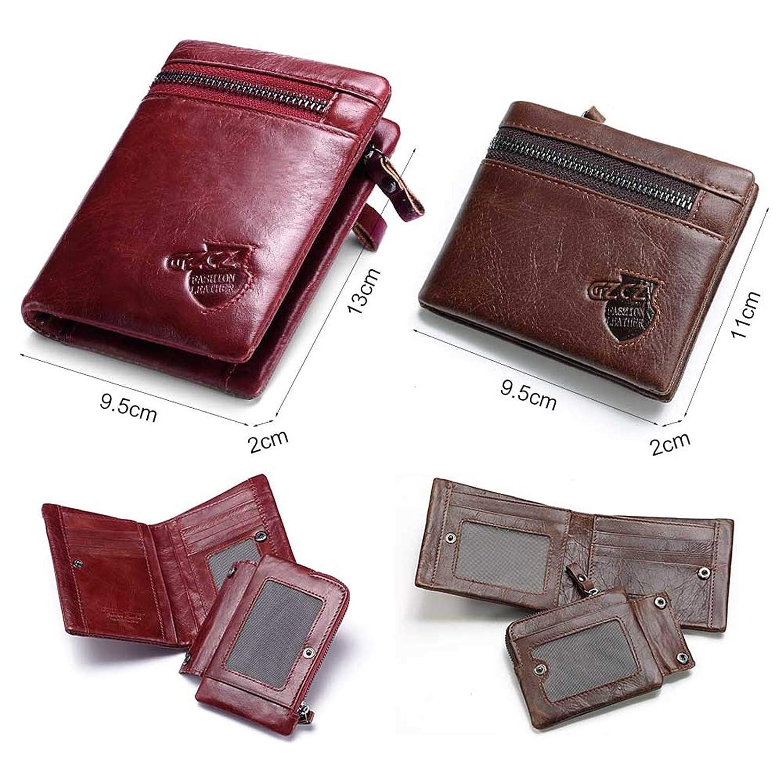 Adisaer-Genuine Leather Wallets for Men Women Unisex Change Purse Bifold Credit Card Holder