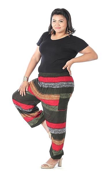 Pantalones Harem hippies de mujer tamaño grande, ropa para la playa y bohemia de CandyHusky verde Colorful Stripes Olive Talla única: Amazon.es: Ropa y ...