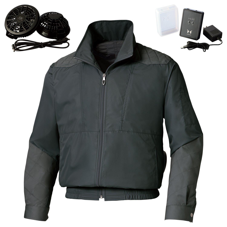 空調風神服サンエスチタン加工肩パッド付長袖ブルゾン(KU92200)+フラットファンレギュラーファンセット(RD9820R)+リチウムイオンバッテリー(RD9870J) セット販売 B07DWMQ4D6 5L 69チャコール 69チャコール 5L