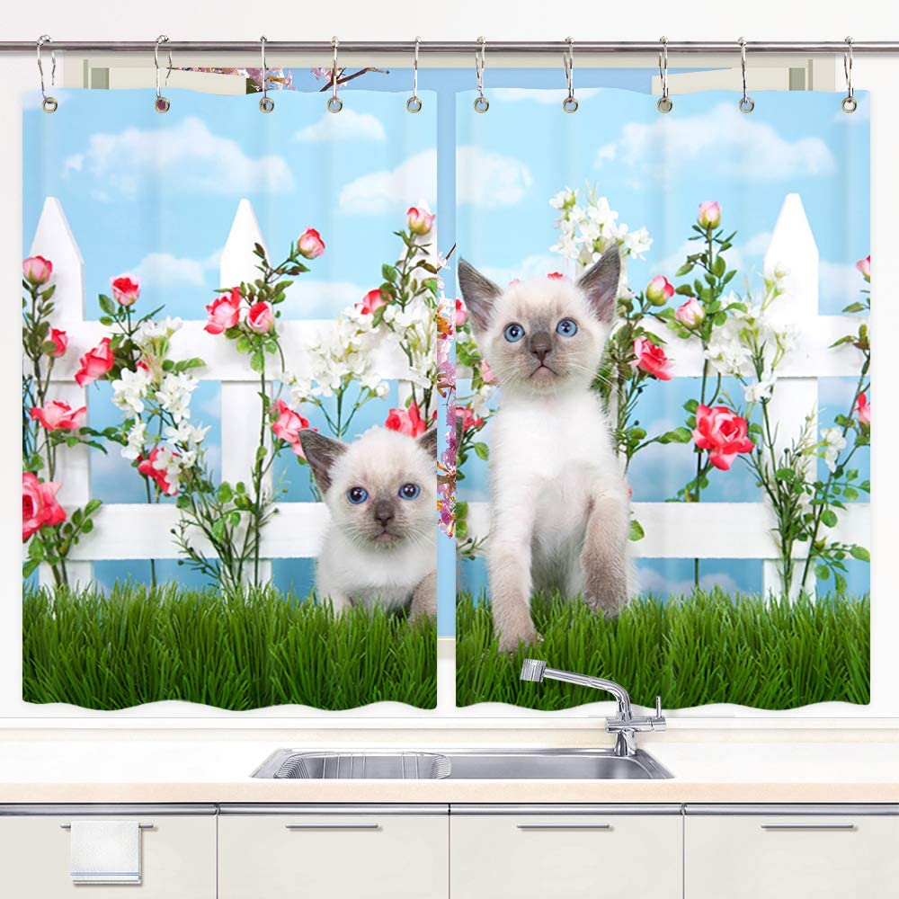 Amazon Com Cut Cat Kitchen Curtain Two Kittens Sitting In Long Grass On White Picket Fence Of Pink Roses Flowers Window Curtain Panels Waterproof Kitchen Curtains Drapes 10pcs Hooks 55x39 In Valance Home