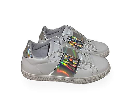 Bianco Sneakers Pelle Donna Scarpe Basse Argento Arish Fascia 1wqAPpWW