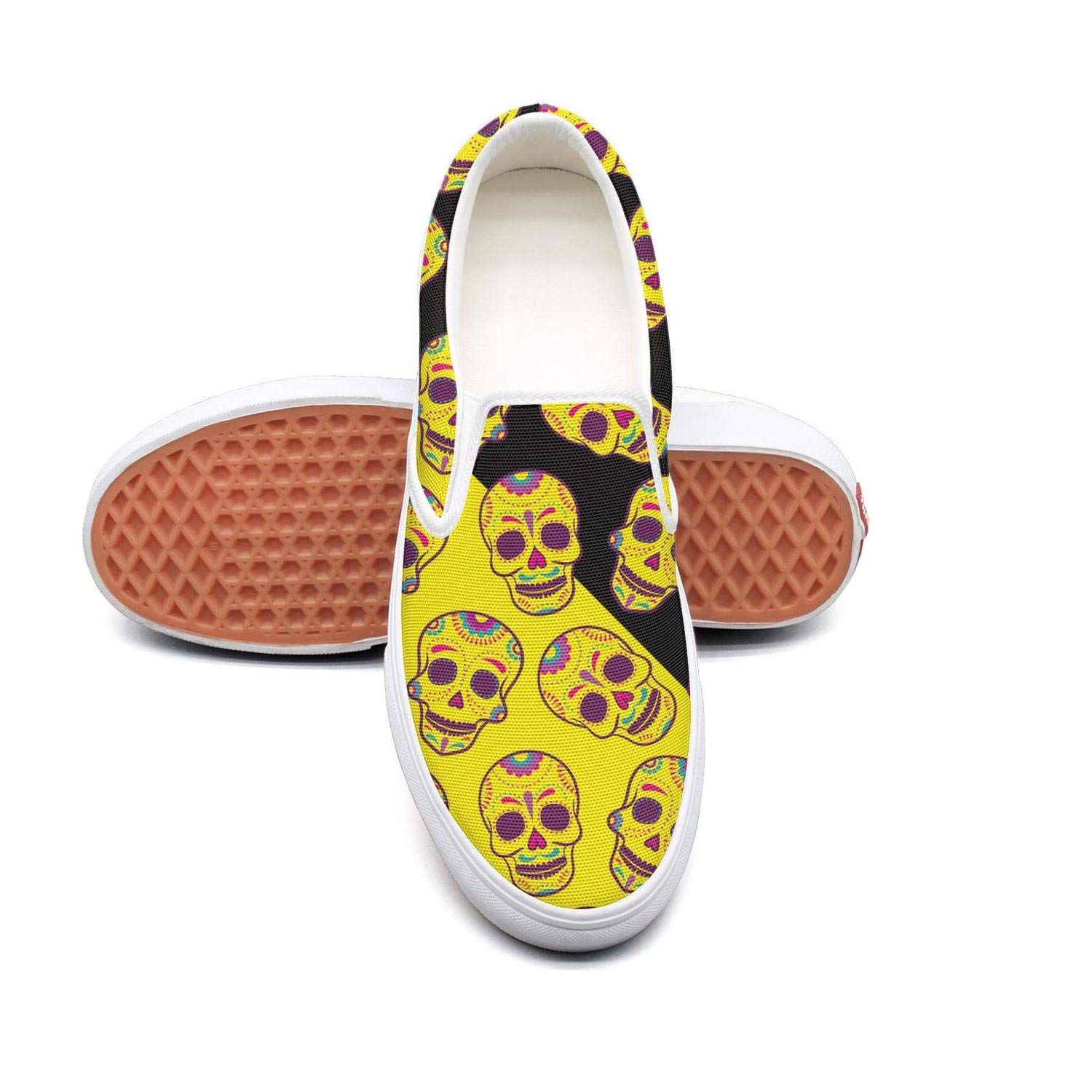Back to School Dead Candy Skulls Slip On Canvas Upper Loafers Canvas Shoes for Women Round Toe