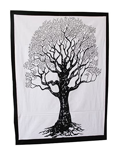 Doble Blanco Y Negro Póster De árbol De La Vida Tapiz Colgante De