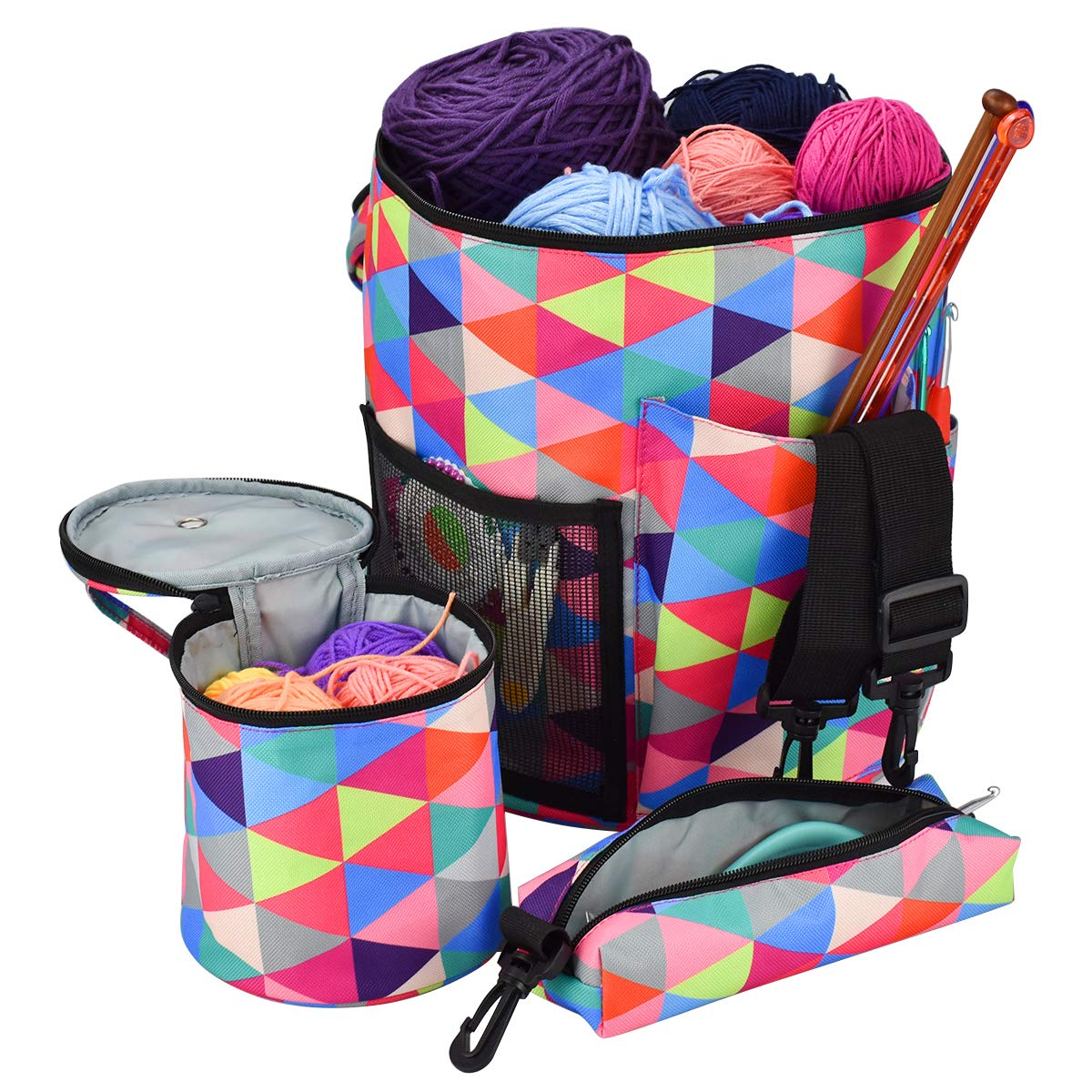 Large Capacity/Portable/Lightweight Yarn Storage Knitting Tote Organizer Bag with Shoulder Strap Handles Looen W/Pockets for Crochet Hooks & Knitting Needles(Rainbow Color Set 2)