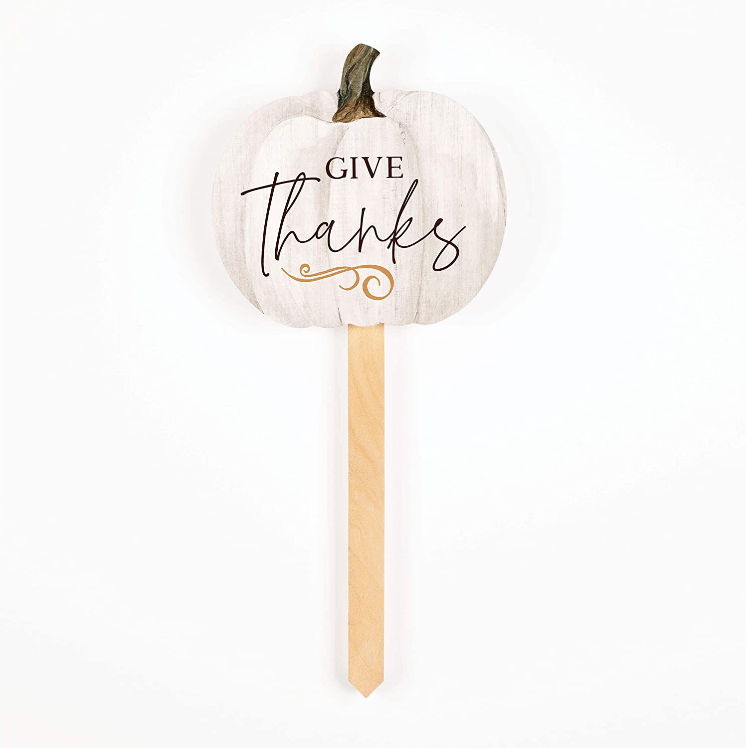 P. Graham Dunn Give Thanks White Pumpkin 6 x 5.75 Pine Wood Garden Yard Sign with Stake