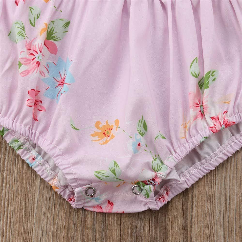 Wang-RX Bebé recién Nacido niña Manga Larga Volantes Flores ...